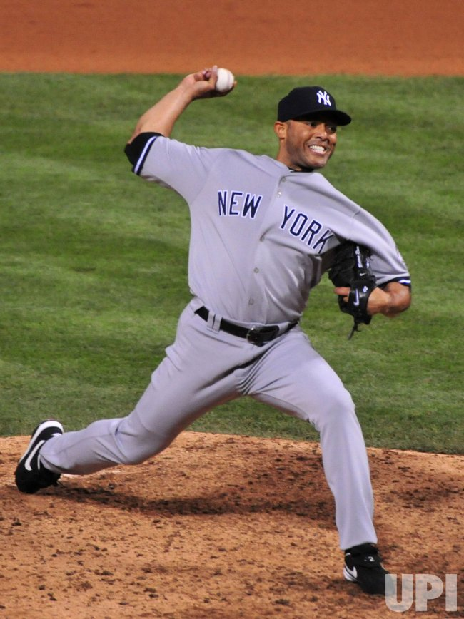 Yankees' Mariano Rivera pitches during game 4 of the world series in Philadelphia