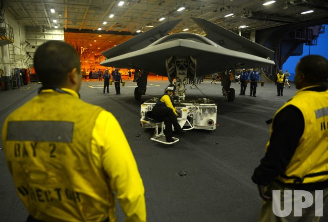 Unmanned X-47B prepares to be first catapult launch from a U.S. aircraft carrier