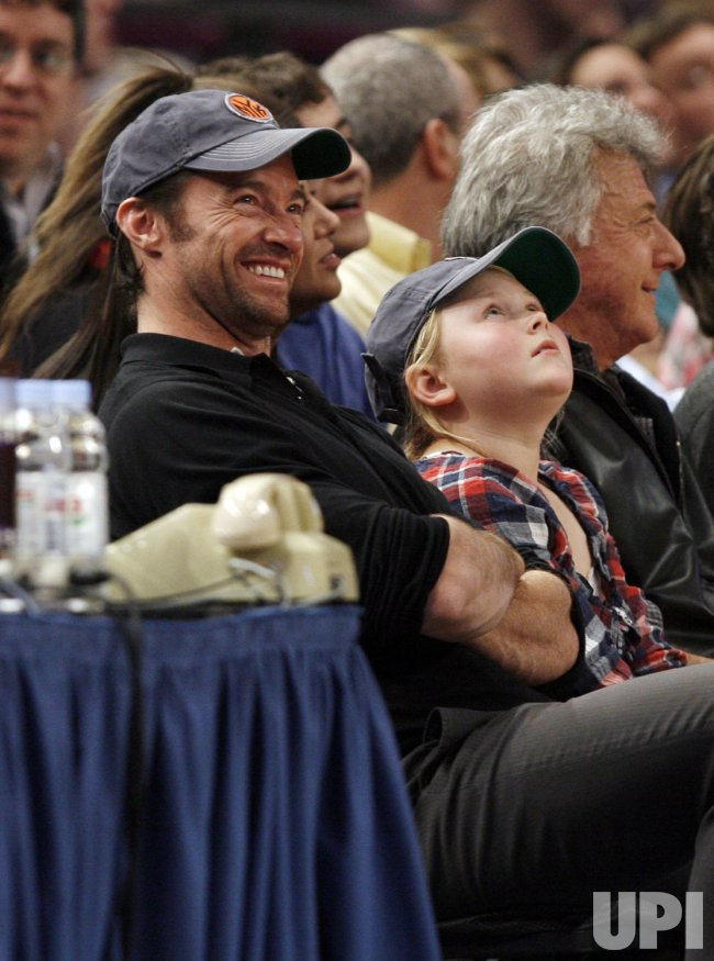 Actor Hugh Jackman watches the New York Knicks play the Chicago Bulls at Madison Square Garden in New York