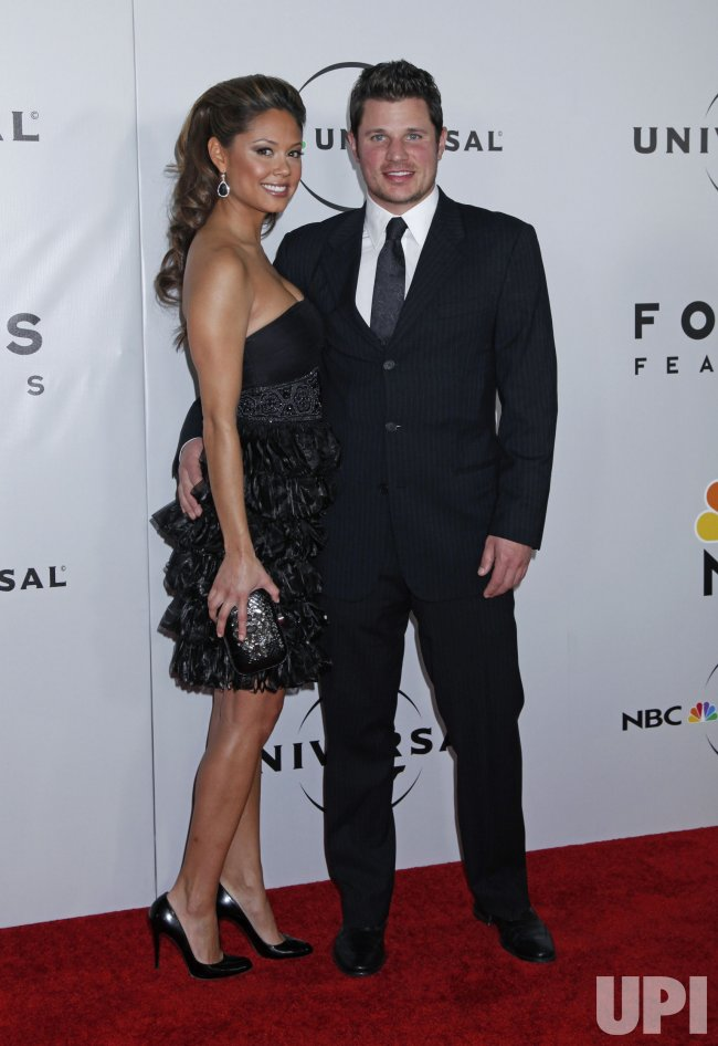 Nick Lachey and Vanessa Minnillo arrive at the NBC/Universal Golden Globes After-Party in Beverly Hills