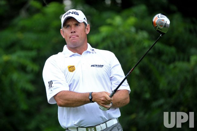 Lee Westwood of England watches his drive at the US Open in Maryland