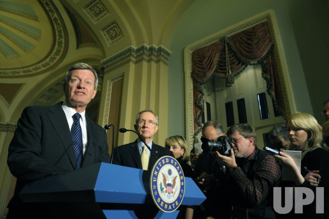 Senators Reid and Baucus speak on health care reform in Washington