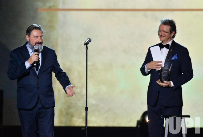 Jesus Lopez and Gabriel Abaroa onstage at Person of the Year gala in Las Vegas