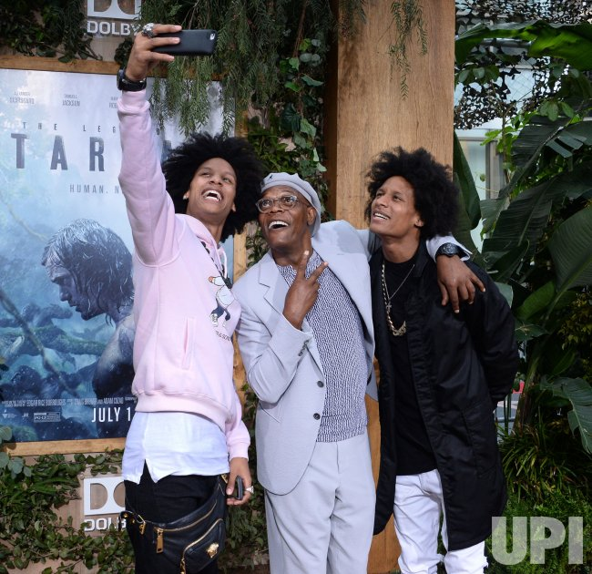 """Samuel L. Jackson and the Wes Twins attend """"The Legend of Tarzan"""" premiere in Los Angeles"""