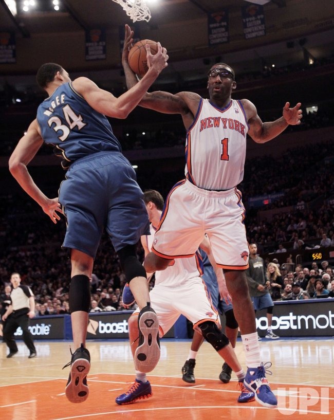 New York Knicks Amar'e Stoudemire and Washington Wizards JaVale McGee at Madison Square Garden in New York