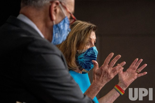 Speaker of the House Nancy Pelosi And Charles Schumer Hold News Conference