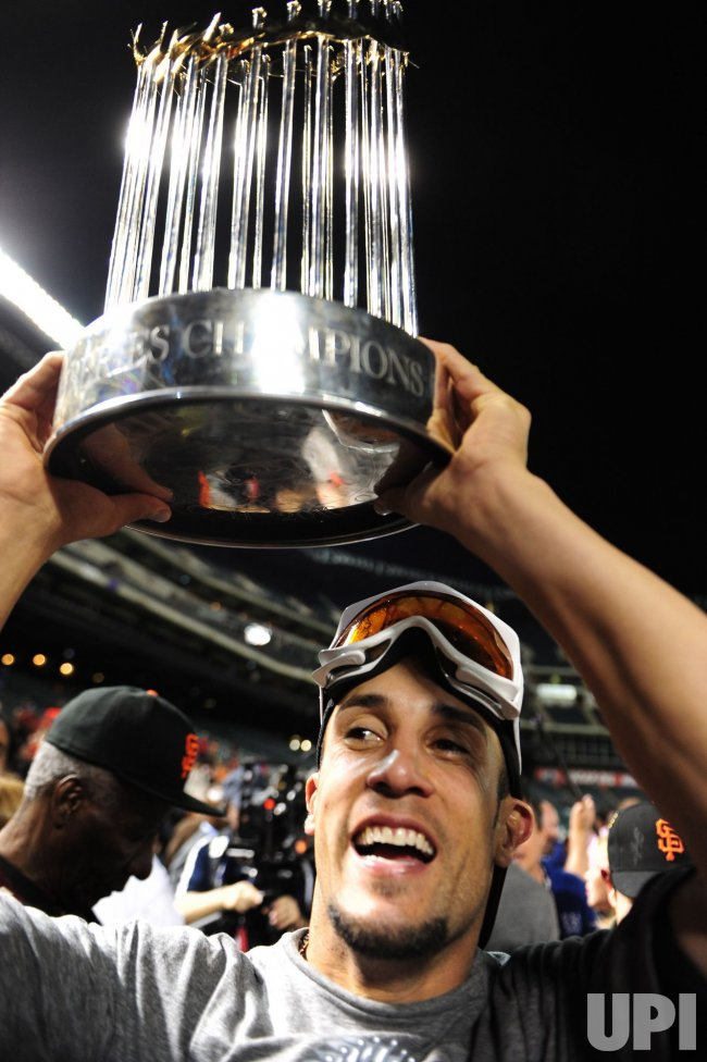 Giants Andres Torres celebrates the Giants 3-1 victory over the Rangers in game 5 of the World Series