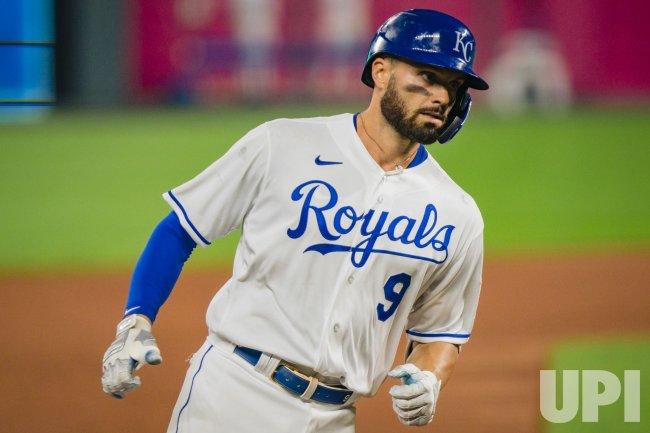 Royals Ryan McBroom Rounds the Bases after Hitting a Solo Home Run Against the White Sox