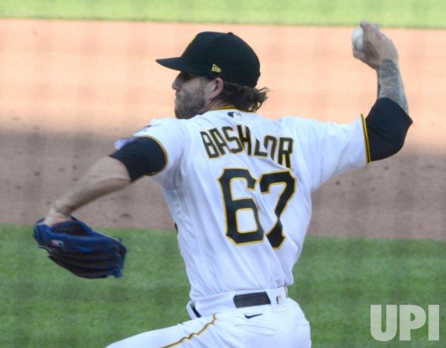 Pirates Tyler Bashlor Throws in Sixth Inning