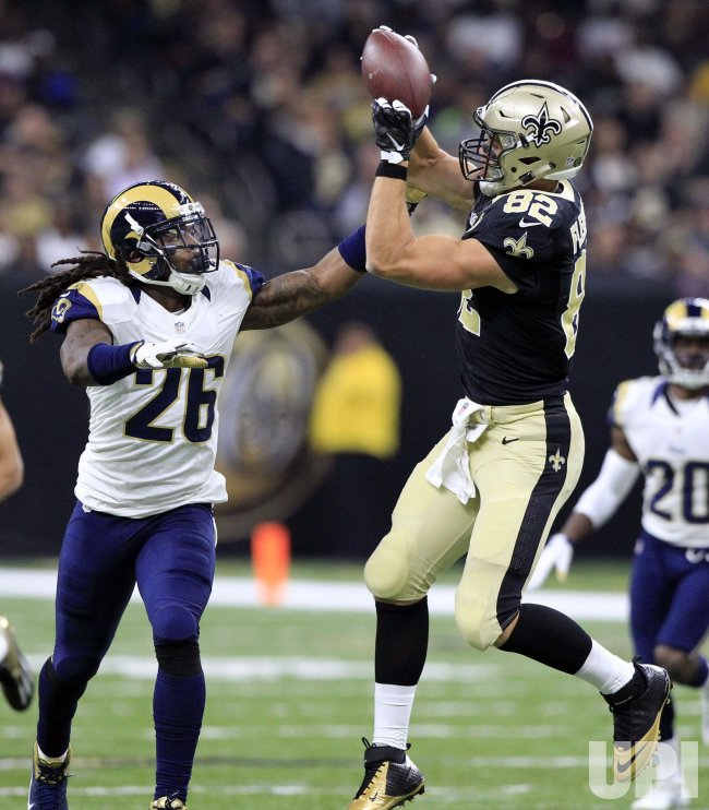Saints tight end Coby Fleener takes a Drew Brees pass for 31 yards