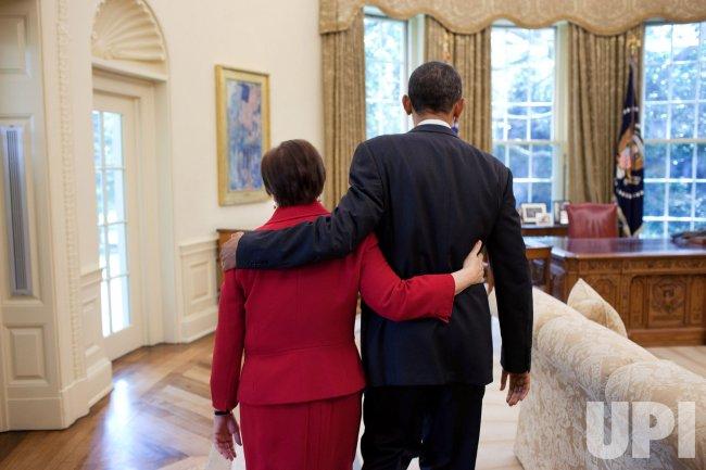 U.S. President Barack Obama greets Elena Kagan in Washington