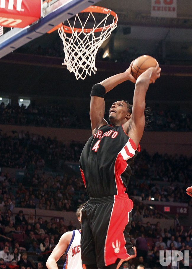Toronto Raptors Chris Bosh dunks against the New York Knicks at Madison Square Garden in New York