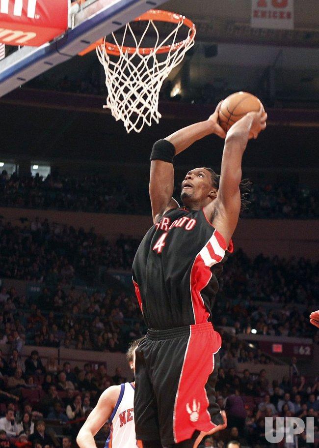 Toronto Raptors Chris Bosh dunks against the New York Knicks at Madison Square Garden in New York