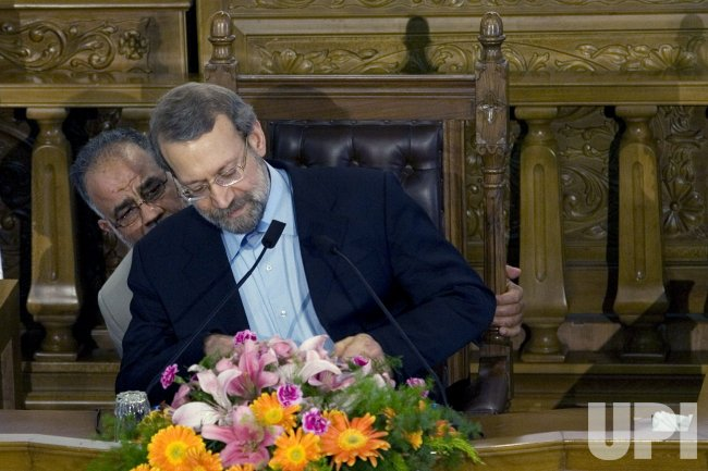 Iranian Parliament Speaker Ali Larijani holds press conference in Tehran