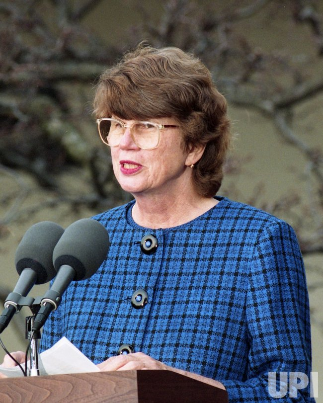 U.S. President Bill Clinton nominates Janet Reno for Attorney General in Washington
