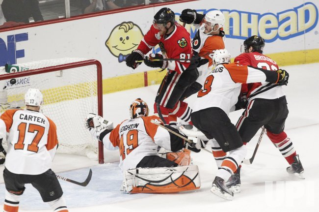 Blackhawks Hossa scores during the 2010 Stanley Cup Final