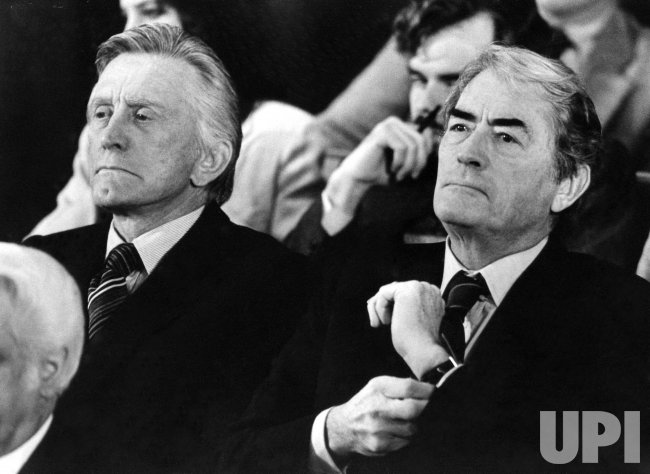 KIRK DOUGLAS AND GREGORY PECK WAITING TO TESTIFY BEFORE NEVADA GAMING CONTROL BOARD