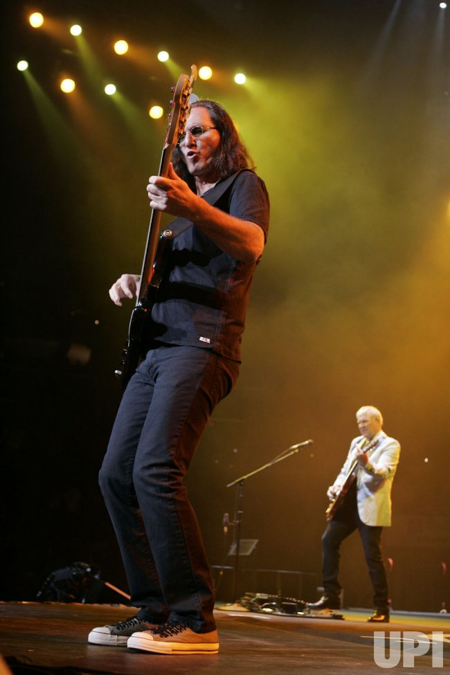 Rush performs in concert in Sunrise, Florida