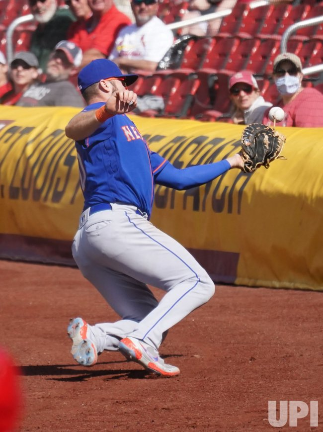 New York Mets First Baseman Pete Alonso Cant Catch Foul Ball