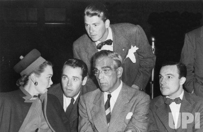 RONALD REAGAN WITH JANE WYMAN, HENRY FONDA, BORIS KARLOFF AND GENE KELLY