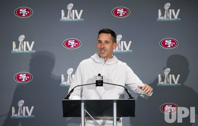49ers Coach Kyle Shanahan speaks to the media during Super Bowl week in Miami
