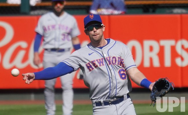 New York Mets Jeff McNeil Makes Throw To First Base