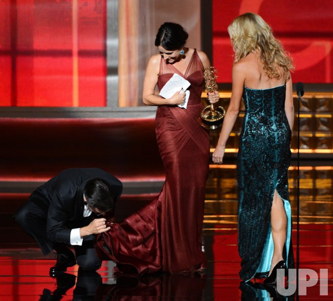 Stephen Colbert and Julia Louis-Dryefus appear onstage at Emmy Awards in Los Angeles