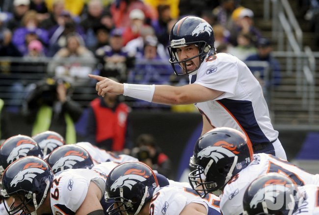Broncos quarterback Kyle Orton calls a play against Ravens in Baltimore