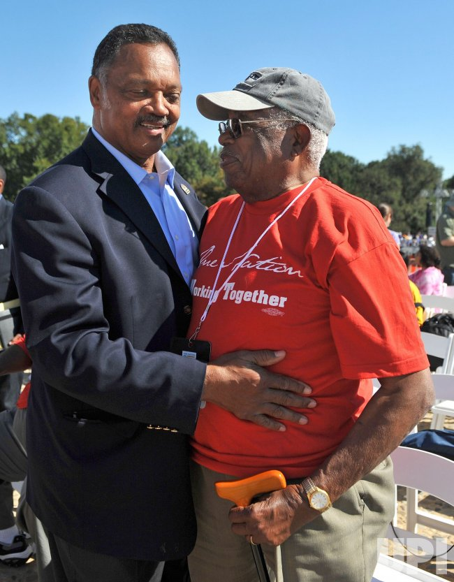 Rev. Jesse Jackson greets a supporter at the One Nation Working Together Rally in Washington