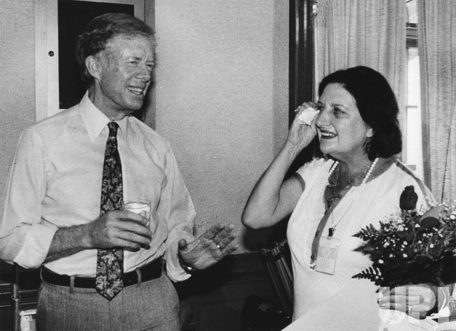 Pres. Jimmy Carter attends surprise birthday party for UPI White House reporter Helen Thomas