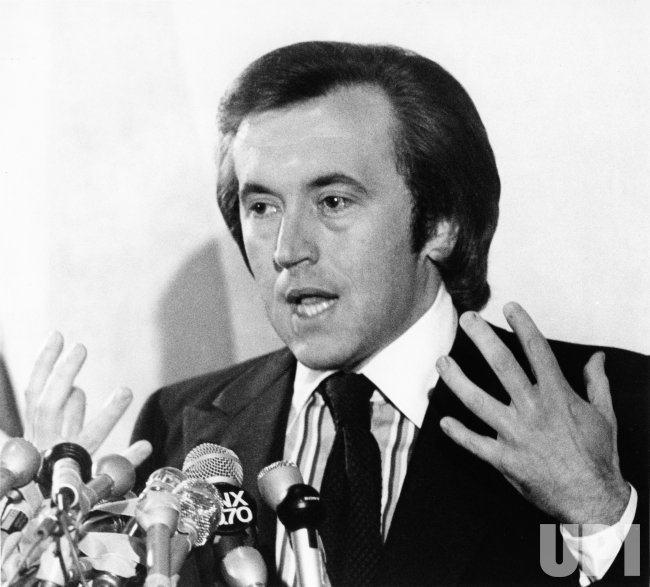 David Frost speaks to the press