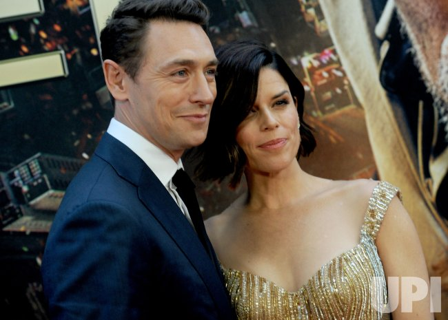 Neve Campbell and JJ Feild at the 'Skyscraper' New York premiere