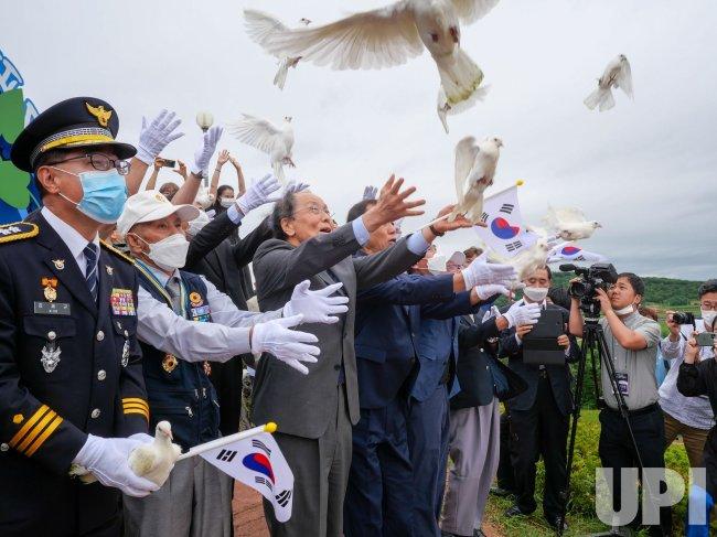 Officials Release Doves at Korean War Memorial Event