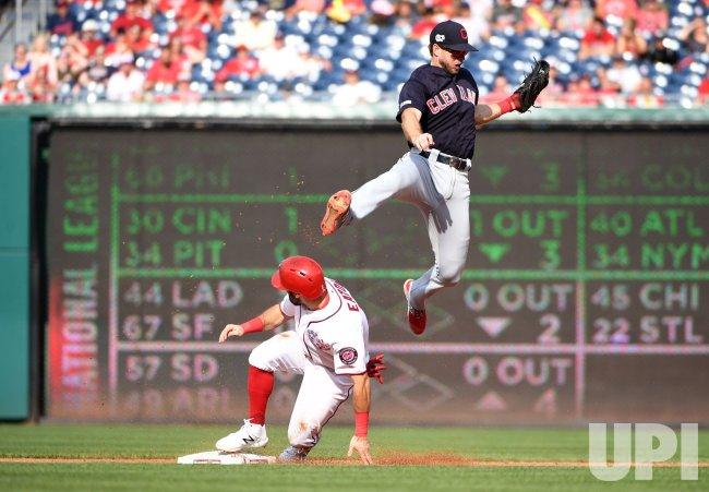 Nationals right fielder Adam Eaton steals second base