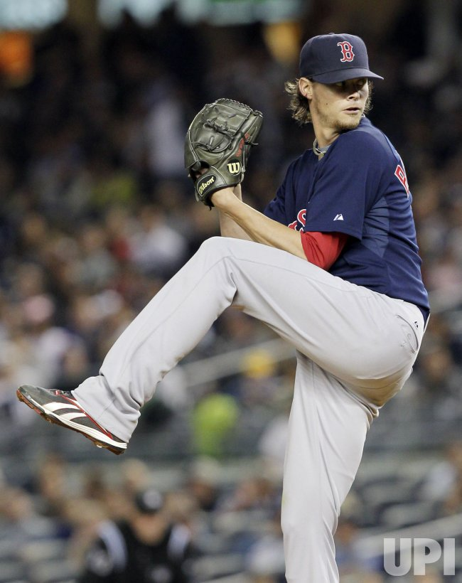 Boston Red Sox starting pitcher Clay Buchholz throws a pitch at Yankee Stadium in New York