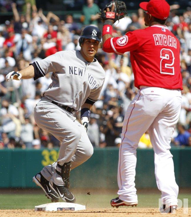 Los Angeles Angels vs New York Yankees in Anaheim, California, baseball