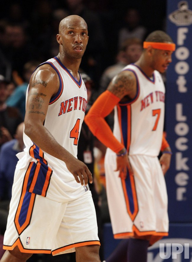 New York Knicks Chauncey Billups and Carmelo Anthony at Madison Square Garden in New York
