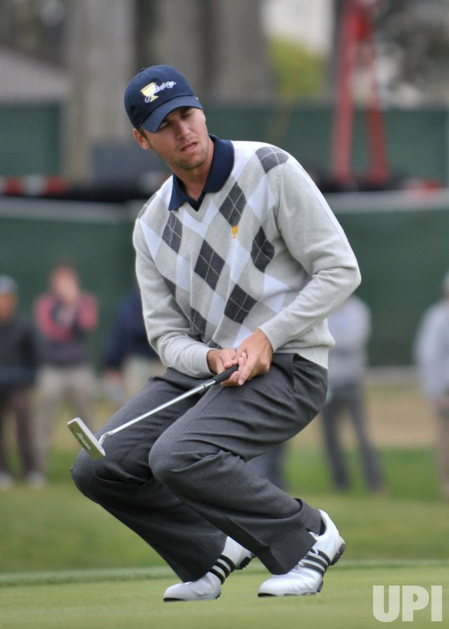 Sean O'Hair reacts during the fourth round of the 2009 Presidents Cup in San Francisco