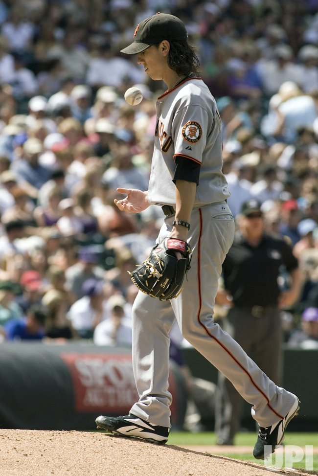 Giants Lincecum Flips Ball Against Rockies in Denver