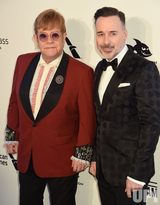 Elton John and David Furnish attend the Elton John Aids Foundation Oscar viewing party in Los Angeles