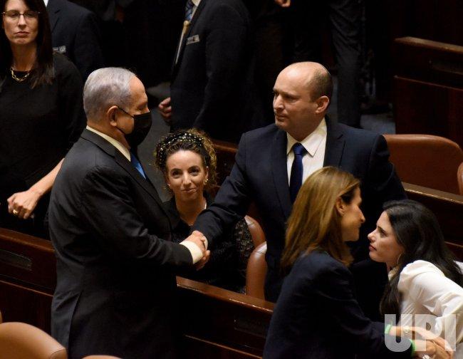 Naftali Bennett Sits In The Knesset In Jerusalem