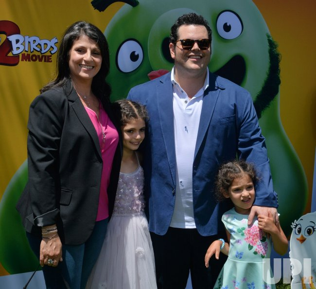 """Josh Gad and family attend """"The Angry Birds Movie 2"""" premiere in Los Angeles."""