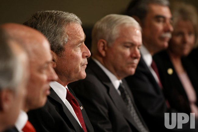 US President George W. Bush meets with his Cabinet Secretaries.