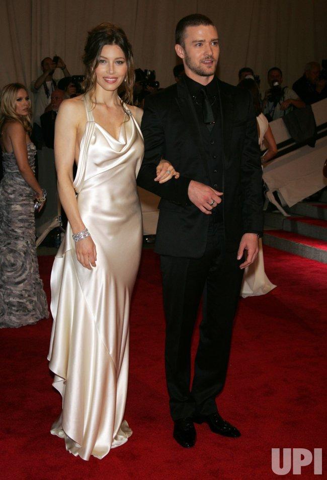 Jessica Biel and Justin Timberlake arrive for the Metropolitan Museum of Art's Costume Institute Gala in New York