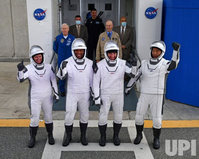First NASA Operational Crew Walks Out for Ride to Launch Pad at KSC.