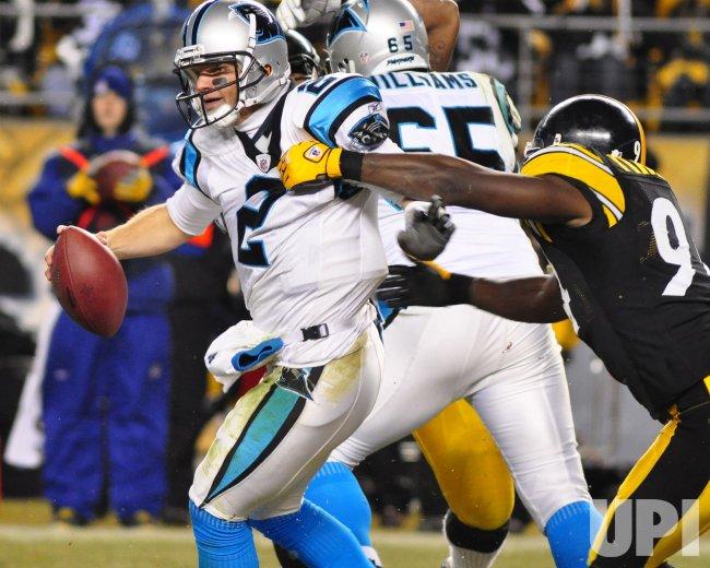 Carolina Panthers QB Jimmy Clausen Sacked in Pittsburgh