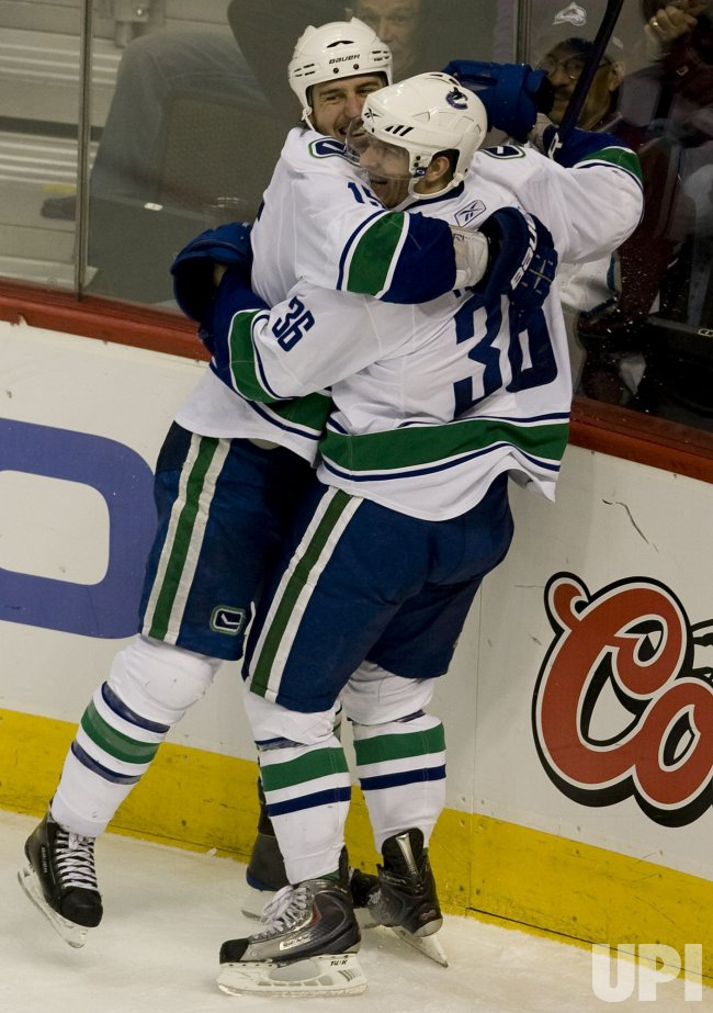Canucks Hansen Celebrates Game-Winning Goal Against the Colorado Avalanche in Denver