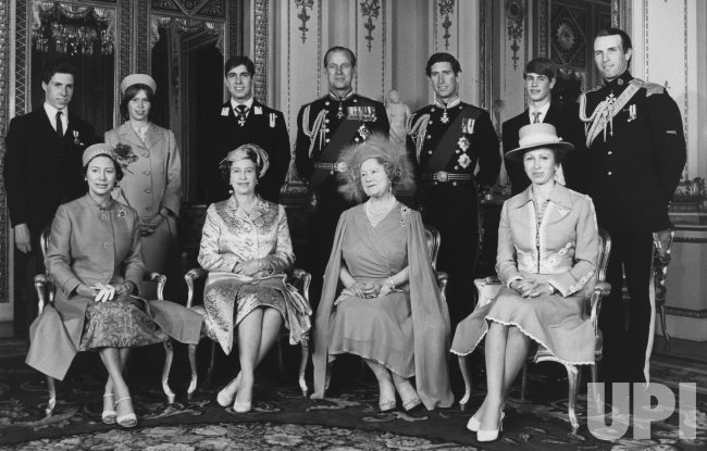 The Queen Mother Elizabeth poses for an immediate family photo in preparation for her 80th birthday celebration