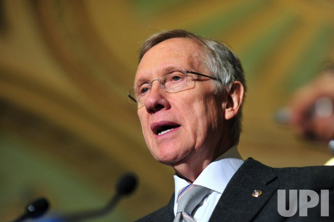 Senate Leader Reid speaks to the press in Washington