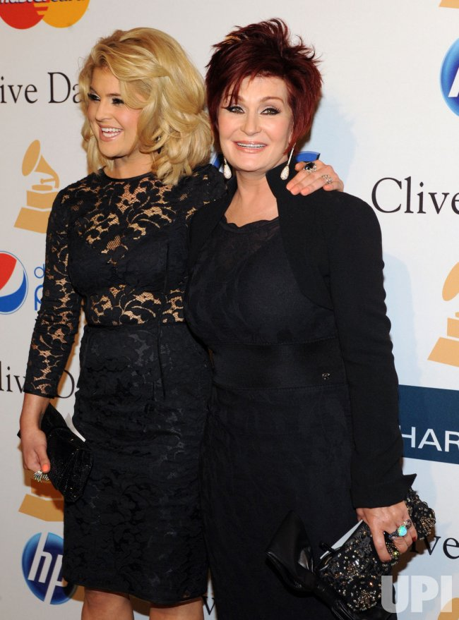 Sharon and Kelly Osbourne arrive at pre-Grammy gala honoring David Geffen in Beverly Hills, California